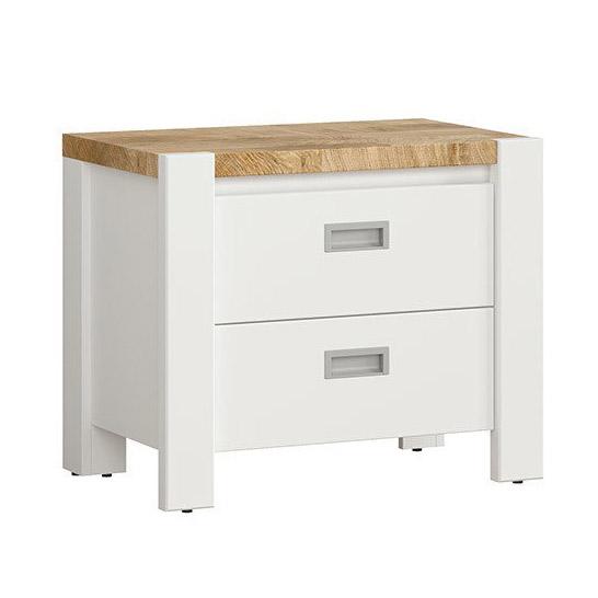 Бяло нощно шкафче с плот в дървесен цвят Древизо
