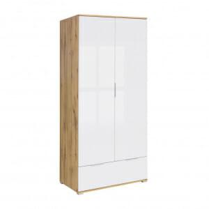 Двукрилен гардероб в бял гланц и дъб вотан Зелле