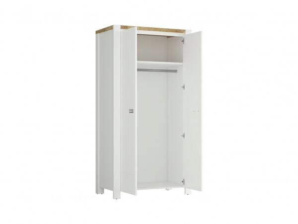 Двукрилен гардероб в скандинавски стил Древизо - разпределение