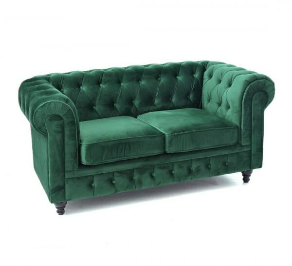 Елегантен диван в кадифе с капитонирана дамаска в зелено-размер 1, двуместен