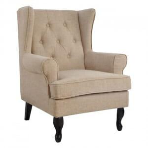 Елегантен фотьойл с текстилна дамаска в стил Честърфийлд-бежово