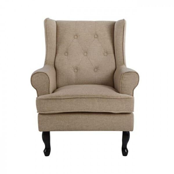 Елегантен фотьойл с текстилна дамаска в стил Честърфийлд-бежово, отпред