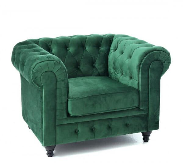 Комфортен фотьойл с кадифена дамаска в зелено