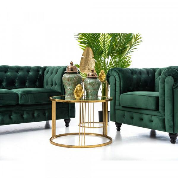 Елегантен диван в кадифе с капитонирана дамаска в зелено-декорация