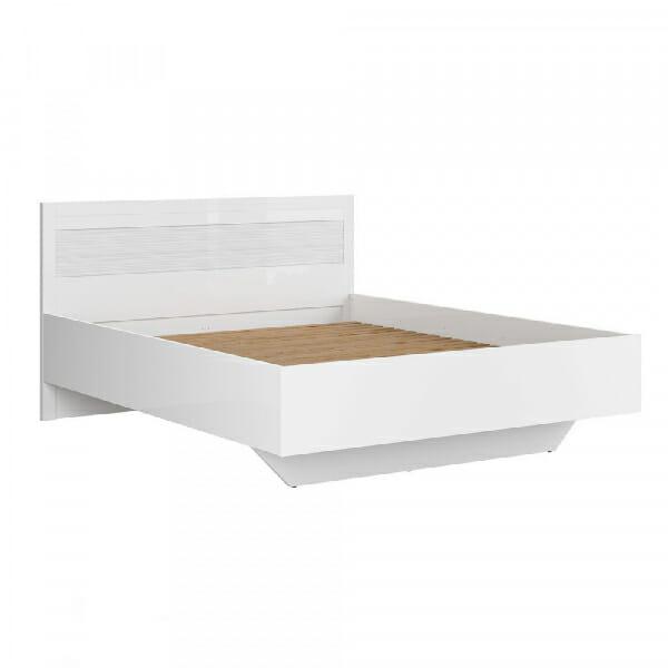 Легло в бял гланц с релефен детайл Флеймс