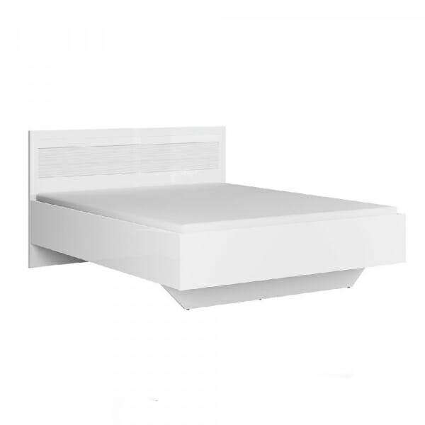 Легло в бял гланц с релефен детайл Флеймс с матрак