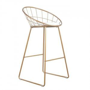 Модерен бар стол с нестандартна облегалка в златисто