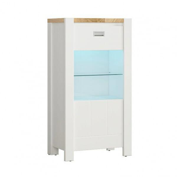 Модерен бял шкаф витрина с осветление Древизо
