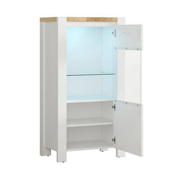 Модерен бял шкаф витрина с осветление Древизо - десни панти
