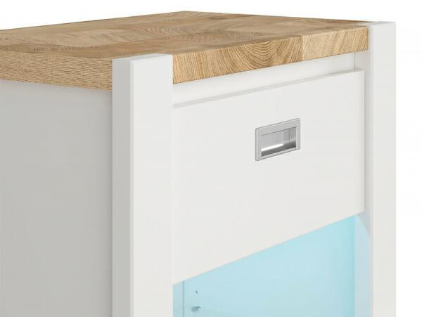 Модерен бял шкаф витрина с осветление Древизо - детайл