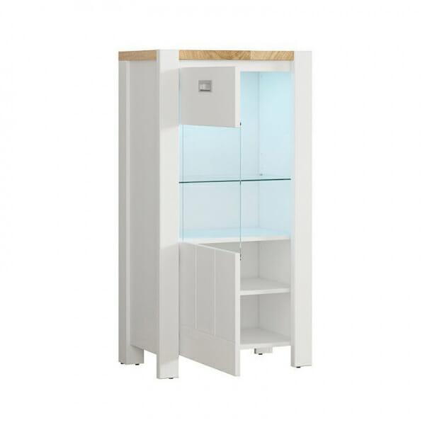 Модерен бял шкаф витрина с осветление Древизо - леви панти