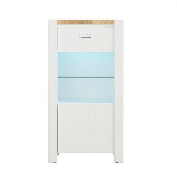 Модерен бял шкаф витрина с осветление Древизо - отпред