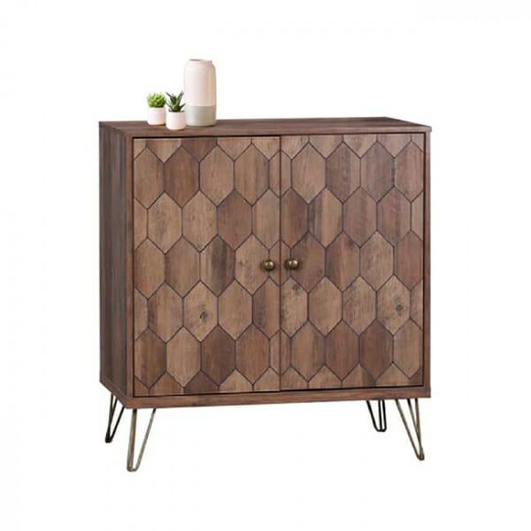 Модерен шкаф в цвят орех със златисти нюанси серия Фреда