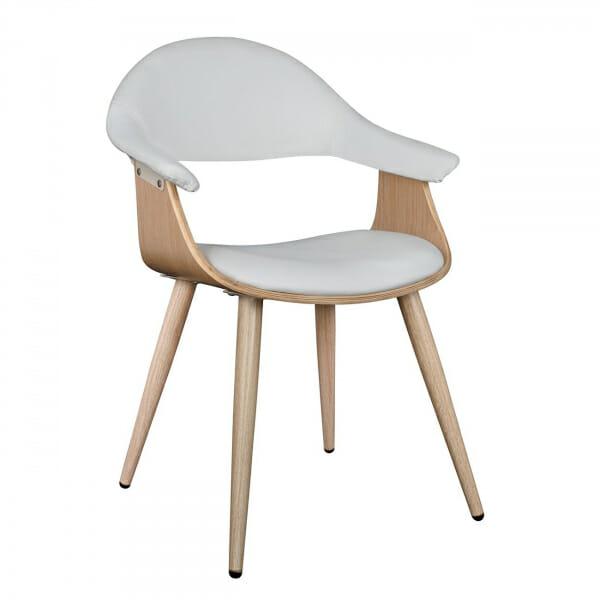 Модерен стол с нестандартна форма от метал и еко кожа в бяло
