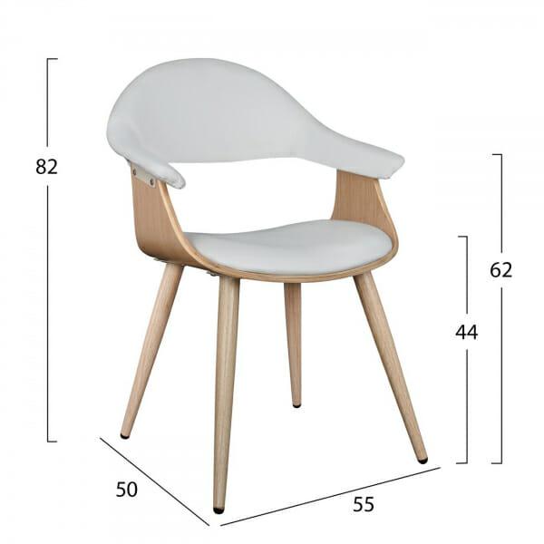 Модерен стол с нестандартна форма от метал и еко кожа в бяло-размери