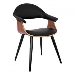 Модерен стол с нестандартна форма от метал и еко кожа в черно