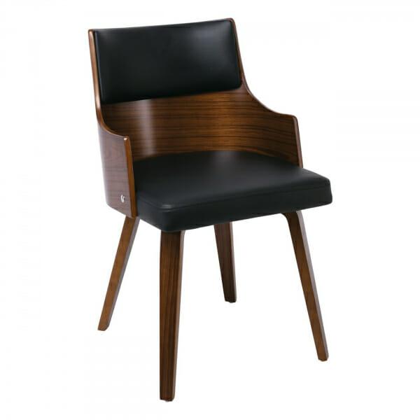 Модерен трапезен стол с подлакътици от дърво и еко кожа