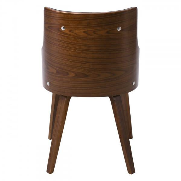Модерен трапезен стол от дърво и еко кожа-отзад