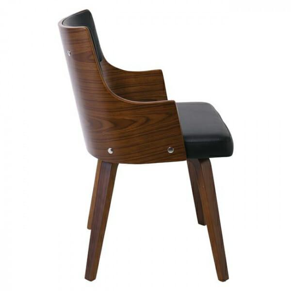 Модерен трапезен стол от дърво и еко кожа-странично