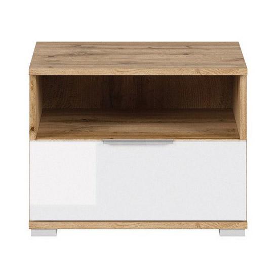 Нощно шкафче в бяло и дървесен цвят Зелле - отпред