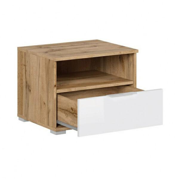 Нощно шкафче в бяло и дървесен цвят Зелле - разпределение