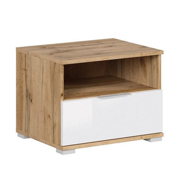 Нощно шкафче в бяло и дървесен цвят Зелле