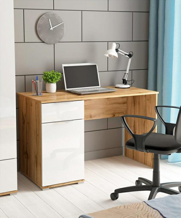 Офис бюро в бяло и дървесен цвят Зелле - декор