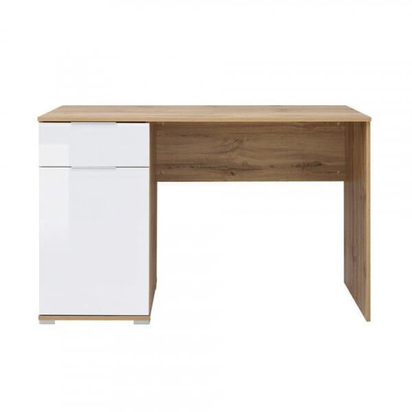 Офис бюро в бяло и дървесен цвят Зелле - отпред