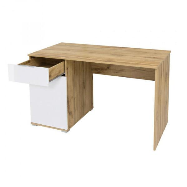 Офис бюро в бяло и дървесен цвят Зелле - отстрани