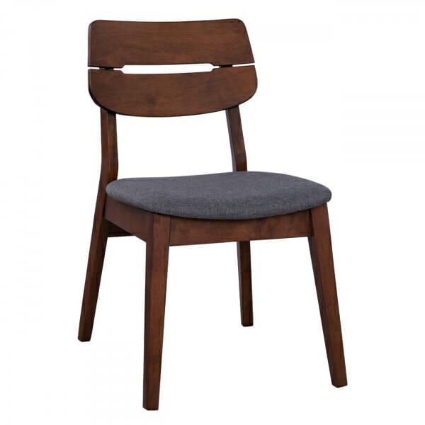 Ретро стол в цвят орех и дамаска в сиво