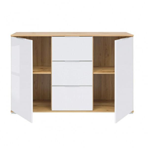 Шкаф с 2 вратички и 3 чекмеджета Зелле - разпределение