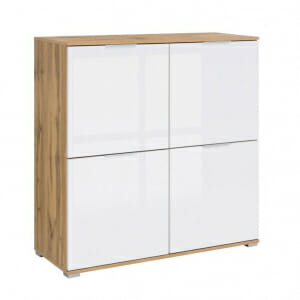 Шкаф с 4 бели гланцирани вратички Зелле