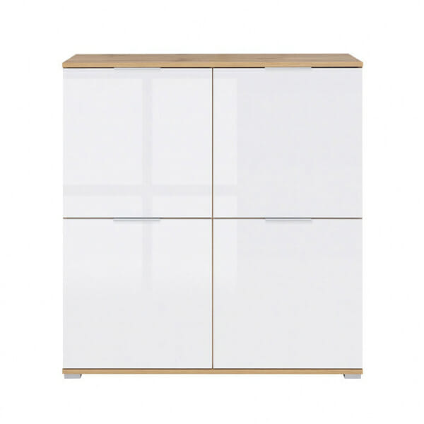 Шкаф с 4 бели гланцирани вратички Зелле - отпред