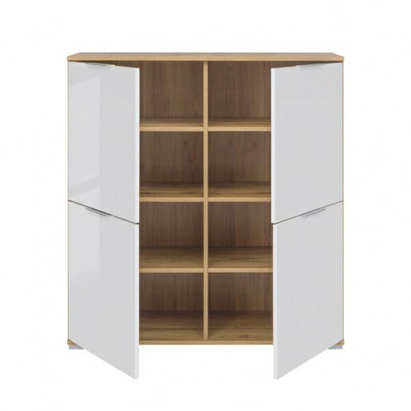 Шкаф с 4 бели гланцирани вратички Зелле - разпределение