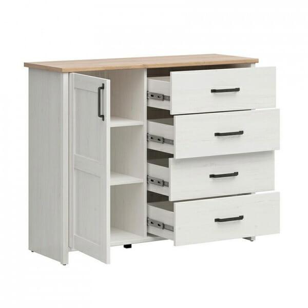 Шкаф с 4 чекмеджета и вратичка Локса - разпределение