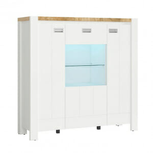 Шкаф със стъклена витрина и LED осветление Древизо