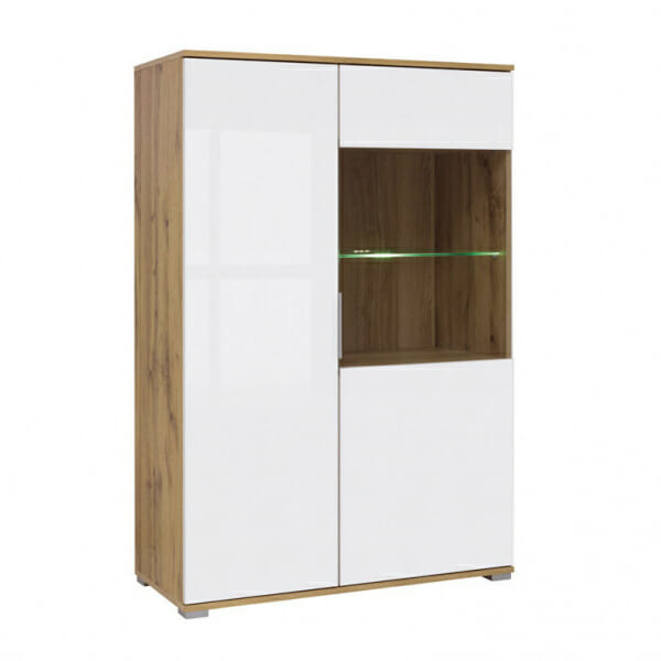 Шкаф в бял гланц със стъклена витрина Зелле