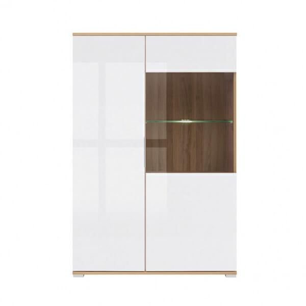 Шкаф в бял гланц със стъклена витрина Зелле - отпред