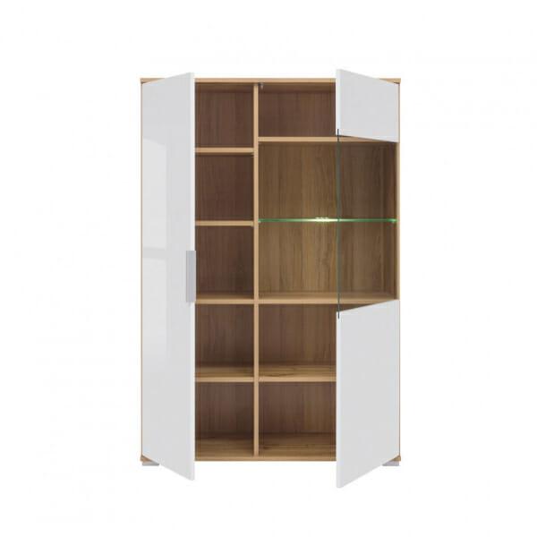 Шкаф в бял гланц със стъклена витрина Зелле - разпределение