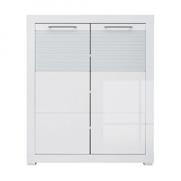 Шкаф за антре с 2 бели гланцирани вратички Флеймс