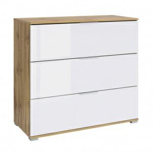 Скрин с 3 бели лакирани чекмеджета Зелле