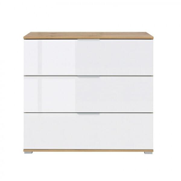 Скрин с 3 бели лакирани чекмеджета Зелле - отпред