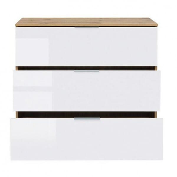 Скрин с 3 бели лакирани чекмеджета Зелле - разпределение