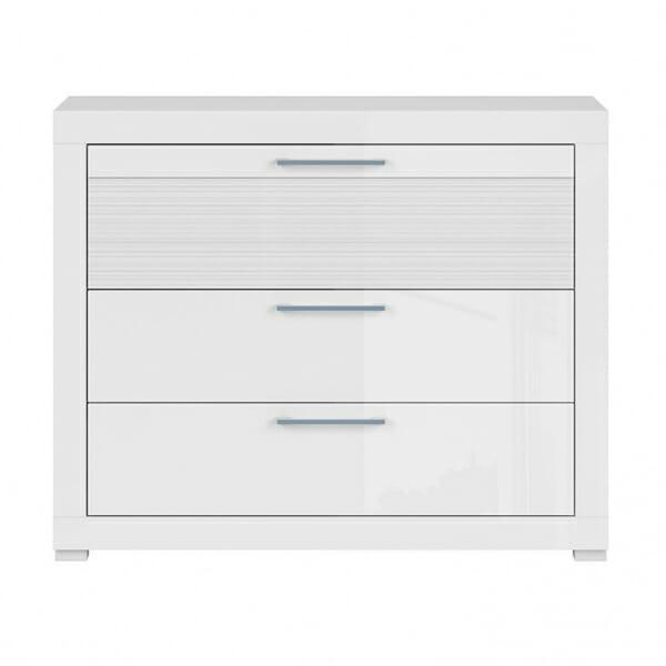 Скрин с 3 чекмеджета в бял гланц Флеймс - отпред