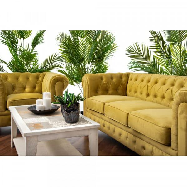 Стилен диван в жълто кадифе-декорация