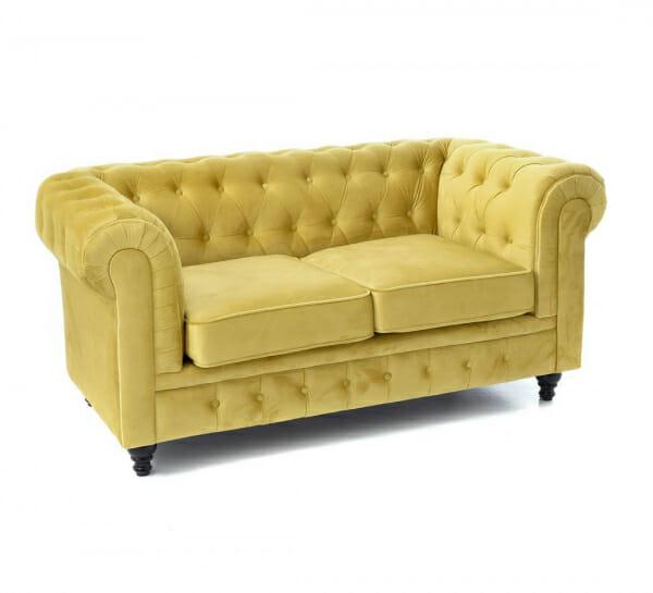 Стилен диван в жълто кадифе-размер 1, двуместен