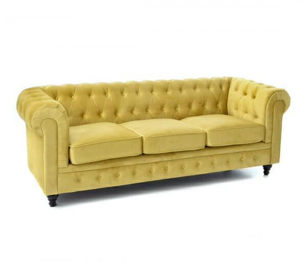 Стилен диван в жълто кадифе-размер 1, триместен