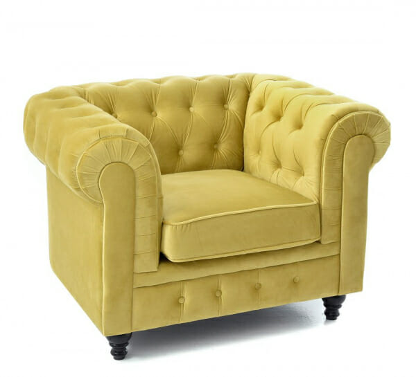 Стилен фотьойл с кадифена дамаска в жълто и дървени крачета