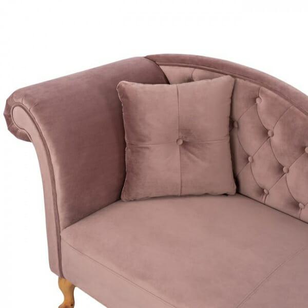 Стилна лежанка канапе с дамаска от кадифе в розов цвят-детайли