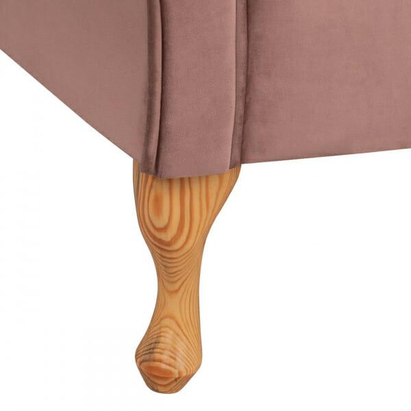 Стилна лежанка канапе с дамаска от кадифе в розов цвят-детайли крачета